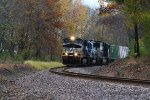 Black Locomotive and Colorful Trees