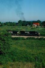 NS 8624 pushes coal train