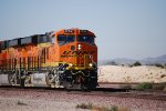 BNSF 6794 highballs into the Barstow yard in this close up shot with BNSF 6793 behind her.