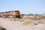 BNSF 6794 and her Sister C4 BNSF 6793 start to slow down to enter the BNSF Barstow yard for a crew change.