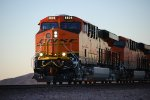 BNSF 6808 enters the BNSF Barstow yard at 17;58 pm/PDT at sunset Leading the Z RIC-CAL Double stack train.
