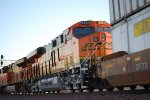 A 14 Day Old BNSF 6802 passes me by at Sunset as she pulls the Z RIC-CAL into the yard.