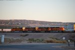 BNSF 6808 with Her Sister C4's BNSF 6894 and BNSF 6802 enter the BNSF Barstow Yard Complex at Sunset with the town of Barstow, CA as the backdrop!!!
