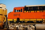 Cab Shot of BNSF 6816 as the Sun Glistens Off Her Less than 8 Day Old Swoosh Logo Paint Job.