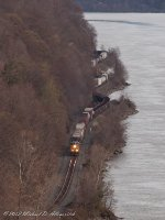 CSX Q439 snakes its way along the Hudson River.