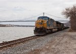 CSX Q410 with the Mid Hudson River bridge providing the backdrop