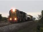 CSX 8714 & 5200 roll over the hill with a short 8 car Q334-25