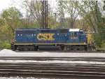 CSX 6364 sits tied down at the west end