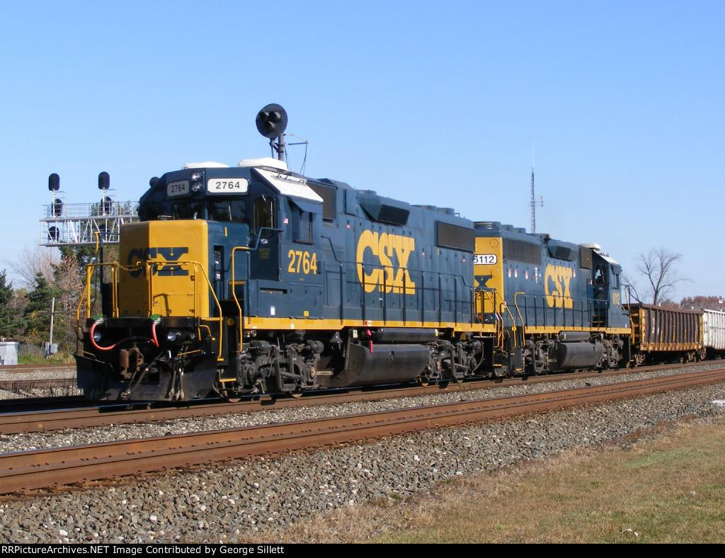 CSX GP38-2 2764 leads a MOW train west.