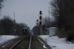 A451 in the distance, while the signal shows a Approach for train 502, still about 3 miles away.