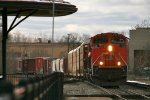 CN 332, Led by a trio of CN's finest rolls slowly, east at Durand