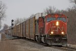 A451, Headed up by an SD75I, Heads north, about to turn west.