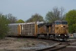 A pair of older UP GEs lug E28091 05 South at Durand.