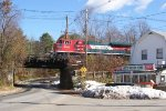 Empty Grain train thru Baldwinville Massachusetts.
