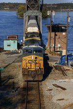 CSX Racks and Stacks come off the Tennessee River Bridge