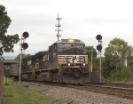 NS 9849 leads an intermodal train