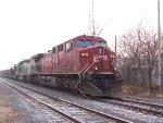 Snow Shot of CP 9713 & CITX 3066 Leading a Rail Train at the Old D&H Colonie Shops