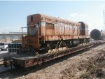 G12 Australian Locomotive loaded on flatcar at Texas Terminals and headed to National Rail Equip at Mount Vernon, IL