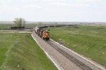 BNSF 5473 Runs a Grain Train East