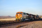 BNSF 6833 makes the turn out of BNSF Barstow yard and go's Head to Head into the Setting Sun!!!