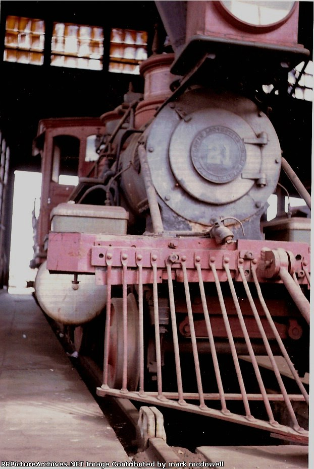 "Virginia & Truckee, #21 ""J. W. Bowker"", WP roundhouse, 1964"