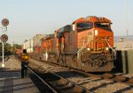 BNSF 7339 leads a stack train into the station on main 2