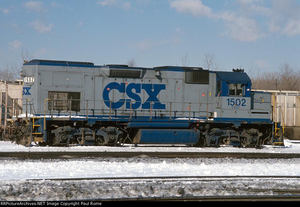 CSXT 1502, EMD GP15T, ex C&O 1502, at CSXT's Barr Yard