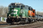 BNSF 1485, EMD GP15-1, ex SLSF, at the KCS Knoche Yard