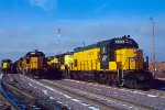 C&NW 4404, EMD GP15-1, Power line up at the C&NW's Marshalling Yard at Proviso