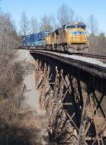 UP 4949 leading I2R across the Pumpkinvine trestle