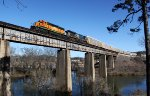 HLCX 8145 leads X210 across the Etowah River.