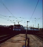 New Amtrak E60 arrives with new Amfleet cars - New Haven - 1976