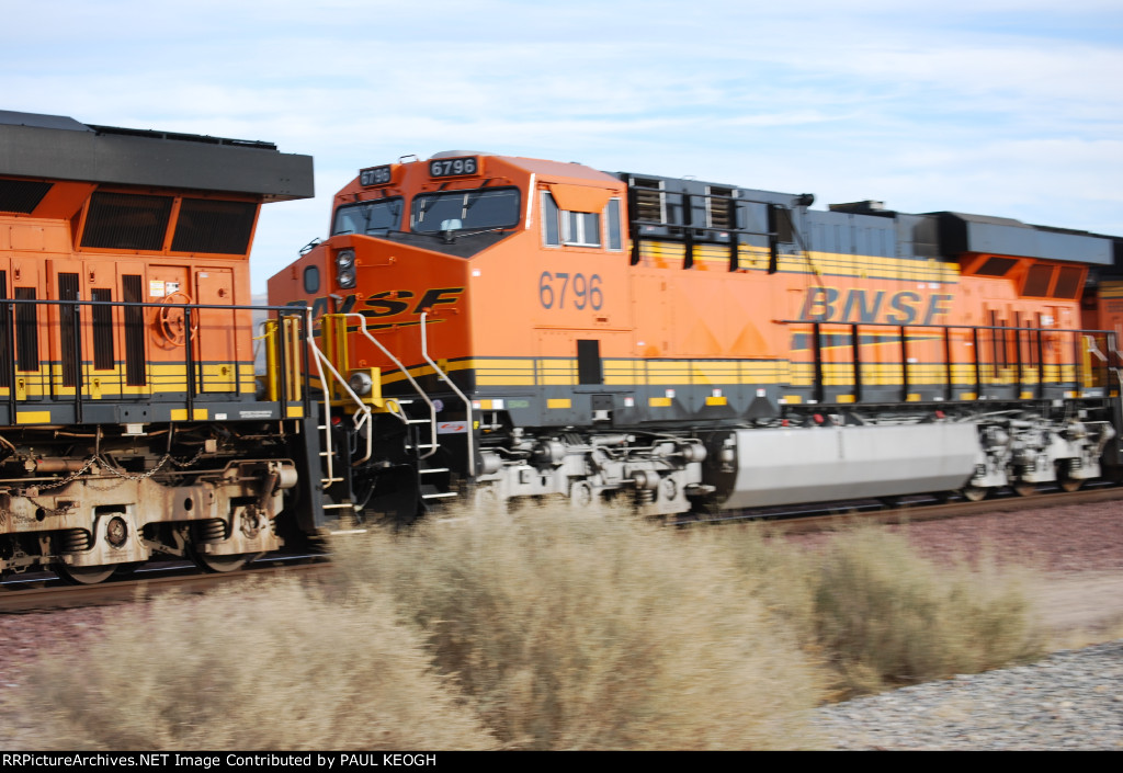 BNSF 6796 passes me by as she heads eastbound with a Double Stack.