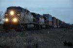 Eastbound intermodal just after sunset