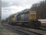 CSX 8025 and 8312 running light. Southbound out of Russell yard, Russell, KY. on Dec. 21, 2011.