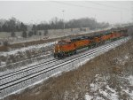 BNSF 4844 in the snow