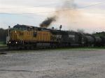 UP Leading NS North through Decatur Junction, Smoking a bit