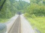 Cab view from NS 6500,exiting double track to single track tunnel#4 eastend.