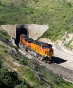 BNSF 5081 blasts out of Tunnel 3 after waiting for a Bakersfield bound train