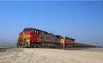 BNSF 718 nears Bakersfield with a unit coil train