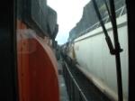 southbound grain train rolls past