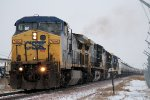 Eastbound CSX Loaded Ethanol Flys By in the Snow