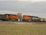 BNSF 4490 and Meets BNSF 5928 in the siding at McBride