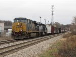 CSX 5332 & HLCX 7156 lead Q335-18 west on the double track just past Seymour