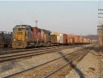 CSX 8107 sits in 4 Track with CP 5877 and CSX 5416