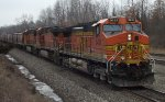 3 BNSF dash 9s lead a grain train