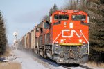 Southbound CN Freight Blasts Thru The Trees