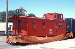 C&S 10538, 3-Window Wood Sided Caboose, being restored sits