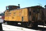 DRGW 01465, Steel Riveted Caboose, sits in storage at the Passenger Station