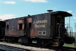 SP 4675 Bay-Window Caboose burned out, at BRC Clearing Yard